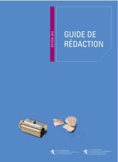 GUIDE DE REDACTION – ÉDITION 2012, Guide de rédaction (Édition 2012)